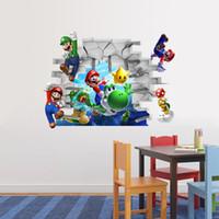 sala de mario al por mayor-ZY1440 Super Mario pegatinas de pared de dibujos animados 3D fondos de pantalla niños extraíbles 48 * 65 cm papel pintado de PVC para la habitación de los niños DHL C1077