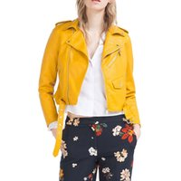 Wholesale Moto Jacket Women Fashion - 2016 Short Jacket Zipper Autumn Fashion Faux Leather Moto Biker Womens Leather Epaulet Belt Basic Coat Women Winter Outwear Coat clothing