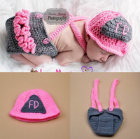 Wholesale Cute Babies Photo Pink - Cute Pink Firemen Design Infant Baby Unisex Photo Props Soft Crochet Baby Hat and Diaper Set for Fotografia Newborn Coming Home Outfits