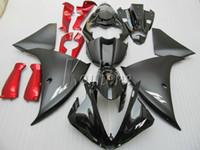 yamaha r1 fairings mat toptan satış-Yamaha enjeksiyon kalıpları için 100% fit YZF R1 09 10 11 12 13 14 mat siyah kırmızı kaporta kiti YZFR1 2009-2014 OR14