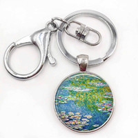 Wholesale Impressionism Arts - Monet's Water Lily Pond Art Keychain Water Lily Keyring Monet Art Jewelry Glass Cabochon French Impressionism Fashion Key Chain