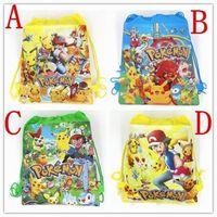 Wholesale Shopping Bags For Kids - Poke Pikachu Go Non Woven Children School Bag Cartoon Kids Drawstring Backpacks for Kids Children Bags Shopping Tote Bags