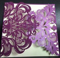 Wholesale Wedding Invitation Sky Blue - Hot selling Purple blue color hollow Laser cut wholesale personalized wedding invitation cards wedding supplier free shipping in good price