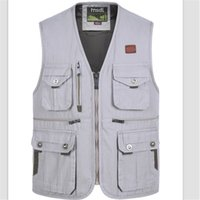 Wholesale Photography Works - Wholesale- Photographers Working Vest Men's Casual Cotton Multi-Pocket Vest Male Photography Work Vest Plus Size Free Shipping