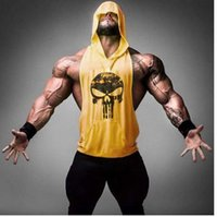 Wholesale Tank Top Skulls - 2017 Skull Hoodies Golds Bodybuilding Stringer Vest Hoodie Fitness brand clothing Tank Top Men Clothing Pullover Hoodys