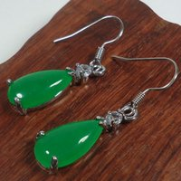 Wholesale Malay Jade Earring - Malay Jade Earrings natural green fashion lady jewelry gift Earrings