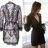 Wholesale Pvc Robes - Hot Sale Women Black Sexy Lingerie Nightwear Underwear Women's Ladies Bath Robe Sleepwear Babydoll Lace Dress