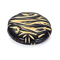 flache plastikcharme großhandel-30 stücke 8x26mm Acryl flache runde muster kunststoff perlen mit gold liniert diy spacer charme antike design perlen Schmuck Zubehör