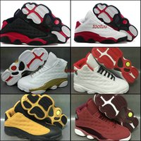 Wholesale Tennis Ball Rubber - Air Retro 13 Mens Basketball Shoes Sneakers White Bred Black Cat Low Chutney Melo PE DMP History of Flight Heiress Basket Ball Sports Shoes