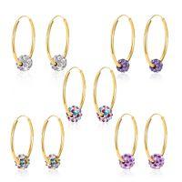 Wholesale Wholesale Diamond Hoop Earrings - Shamba 18K Gold Plated Crystal Diamond Earrings Hoop Huggie Earrings Jewelry for Women E177
