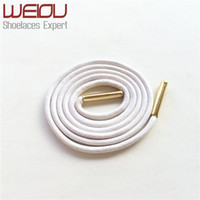 Weiou Gold metal aglets dress shoe strings waxed colored shoelaces round waterproof shoe laces 70cm 27.5'' for leather shoes