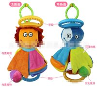 Wholesale Baby Doll Crib Set - Wholesale- special 25cm Baby plush two face dolls with rattle teether musical bell bed hangings stuffed crib hanging baby plush molar toys