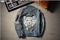 square hole sleeves - Hong Kong style short day tiger head print retro wear old hole jeans men s jacket youth Lapel coat