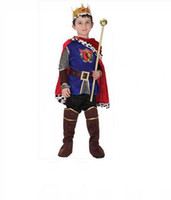 Wholesale Masquerade Party Kids Costumes - M~XL New 2017 Roman Warrior Knight Children Cosplay Hallowean Carnival Party Boy Prince King Kids Costumes Masquerade Suit