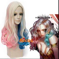 blaue perücke qualität großhandel-100% neue hochwertige Mode Bild volle Spitzeperücken lange Welle Perücke für Batman Suicide Squad Harley Quinn Cosplay rosa blau blonde Perücke