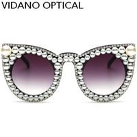 Wholesale Pearl Cat Eye Glasses - Vidano Optical Women Limited Edition Triangle Pearl Cat Eye Sunglasses For Women Luxury Fashion Designer Diamond Round Sun Glasses UV400