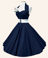 Wholesale Halter Sweetheart Ball Gown - 2017 New Hot Retro Halter Sweetheart Neck Pure Color Ball Dress With Belt Plus Size Fashion And Elegant Party Women Clothing
