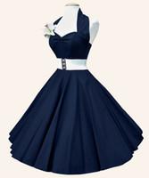 elegante schatzkugel großhandel-2018 neue heiße Retro Halter Schatz Hals reine Farbe Ball Kleid mit Gürtel plus Größe Mode und elegante Party Frauen Kleidung