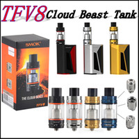 Wholesale Ss Mod - Sub ohm Cloud Beast Tank SMOK TFV8 Tank Full Kit 6ml tank Gold Blue Black SS clone fit GX350 mod In Stock