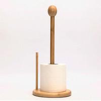 portarrollos de toallas al por mayor-Tenedor de papel de madera de bambú Vertical Roll Pole Tenedor de la toalla de papel para la cocina / el inodoro independiente herramienta casera que envía libremente ZA3130