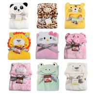 Wholesale Infant Hooded Bath Robe - Newborns Bath Towel Kids Cloak Robe Cartoons Animal Baby Flannel Hooded Bathrobe Infant Towel Blankets Swaddle Warp