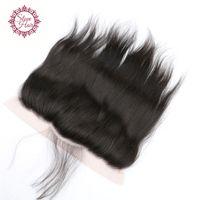 12 cabelos lisos malaysianos venda por atacado-Barato 8A Reta Malaio Fechamento Frontal Do Laço Com o Cabelo Do Bebê 13 * 4 Virgem Do Cabelo Humano Cheia Do Laço Frontal de Seda Reta frontal