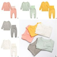 Solid Color Ins Pyjamas Outfits für Kinder Baby Girls Top Qualität Baumwolle hohe Taille Nachtwäsche Mädchen Nachtwäsche Baby Pyjamas Kinder Kleidung