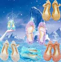 Frozen Blue Princess Queen Fancy Dress Cosplay Party Kids Girl Crystal Blue Jelly Shoes Tênis de dança