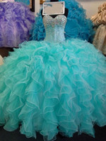 Wholesale Sweetheart Princess Prom Dresses - Glittering Sequins Crystal Blue Quinceanera Dresses 2017 New Real Image Sweetheart Lace up Sweet 16 Years Princess Prom Dress Custom Mad