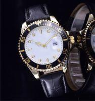saat severler için hediye toptan satış-Relogio masculino erkek saatler Lüks elbise tasarımcısı moda Siyah Dial Takvim altın Bilezik deri Master Erkek saat 2017 hediyeler severler