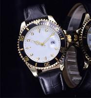 relojes amantes de lujo al por mayor-relogio masculino relojes para hombre de lujo vestido de diseñador de moda Dial Negro Calendario pulsera de cuero de cuero Masculino reloj 2017 regalos amantes
