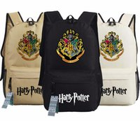 Wholesale harry potter black - Harry Potter Backpack Hogwarts Houses Printed Oxford Sport Laptop Backpack School Bags Gryffindor Lytherin Hufflepuff and Ravenclaw