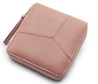 Wholesale Nice Ladies Clutch Bags - 2017 Hot Selling ! Nice Patchwork Short Women Wallet Solid Color Zipper Wallet Clutch Bag Business Card Holder Lady Money Purse
