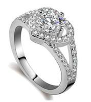 rhodium 925 ringe großhandel-Neue Ankunft Top-Qualität 925 Silber Liebe zum Herzen Ehering für Frauen mit Flash Kristall Braut Geschenk