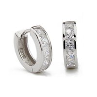 Wholesale small rhinestone earrings - 2017 Fashion Man Silver Small Round Square Crystal Hoop Huggie Earrings Newest