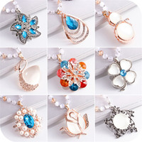Wholesale Gold Sweater Chains - winter fashion sweater chain all-match Crystal Necklace female pendant pendant jewelry and accessories