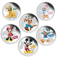 Wholesale 6 set full set mickey friends mouse dog duck Hollywood cartoon animal silver plated Elizabeth souvenir coins gift