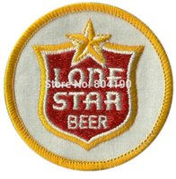 Wholesale Iron Motorcycle Club - Vintage Lone STAR Beer Collectors Embroidered iron on patch MORALE Motorcycle Club vest badge retro emo punk applique