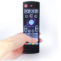 Wholesale- MX3-L Backlight Mouse d'air Télécommande avec clavier sans fil 2.4G pour KM8 P X96 H96 pro T95X Kii Pro Android TV Box