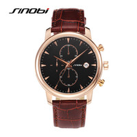 Wholesale Sinobi Male Watch - SINOBI Multifunction Sports Mens Wrist Watches Leather Watchband Top Luxury Brand Males Chronograph Geneva Quartz Clock Saatler