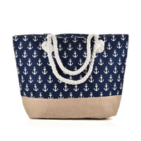 Wholesale Types Bags Women - New Anchor Beach Bag Light type Canvas Zipper Woman Handbag Ladies Sea Travel Bag Casual Totes Shoulder Bags Tote QQ2144