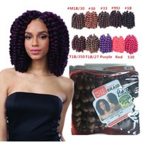 Wholesale Curling Wand For Hair - Freetress Jamaican bounce crochet hair for black women Havana Mambo Twist Crochet braids Hair 8'' African wand curl crochet hair