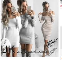 vestido listrado cinza branco venda por atacado-Branco Preto Cinza Listrado Jumper Malhas Outono Inverno Mulheres Vestido Fora Do Ombro Reversa Barra Pescoço Manga Longa Camisola Vestido