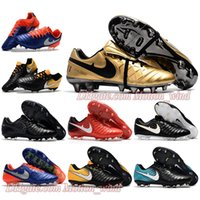 Wholesale Low Ankle Boots For Men - New Mens Low Ankle Football Boots Tiempo Totti X Roma Tiempo Legend VII FG Soccer Shoes For Men Legend VI Superfly Soccer Cleats