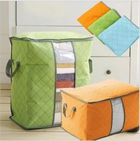 Wholesale Charcoal Quilt - Big Non Woven Quilt Storage Bag Portable Foldable Clothing Blanket Pillow Underbed Bedding Organizer Box Bamboo Charcoal Storage Bags