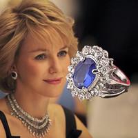 kate diana toptan satış-Benzersiz 925 ayar gümüş elmas yüzük prenses Kate nişan taş yüzük Diana prens William safir yüzük kadınlar için jewelr