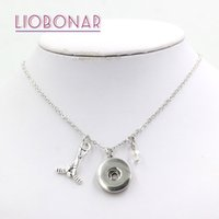 Wholesale Hockey Team Gifts - Wholesale Snap Jewelry DIY Personalized Gift Crystal Bead Birthstone Charm Sport Ice Hockey Snap Necklace Fit 18mm Button Bijoux Team Gift
