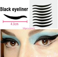 Wholesale Tattoos Sexy Black Cat - Wholesale-80pcs 5packs Stickers Sexy Cat Eyes Sticker Black Eyeliner & Double Eyelid Tape Smoky Tattoo eye makeup