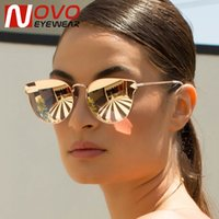 Wholesale arrow glass lens - Wholesale-Cat Eye Sunglasses Women Brand Designer Female Shades Luxury Arrow Sun Glasses For women Mirror Flat Lens Oculos de sol feminino