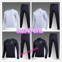 Wholesale Xxl Size Suits - Europe size S-3XL AAA+quality 2017 Real Madrid Football jacket tracksuit 17 18 RONALDO de foot JAMES BALE RAMOS ISCO jacket Training suit